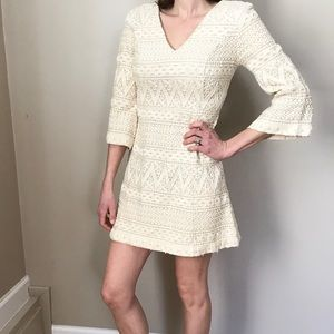 Vintage 70's Ivory Crocheted Lace BellSleeve Dress